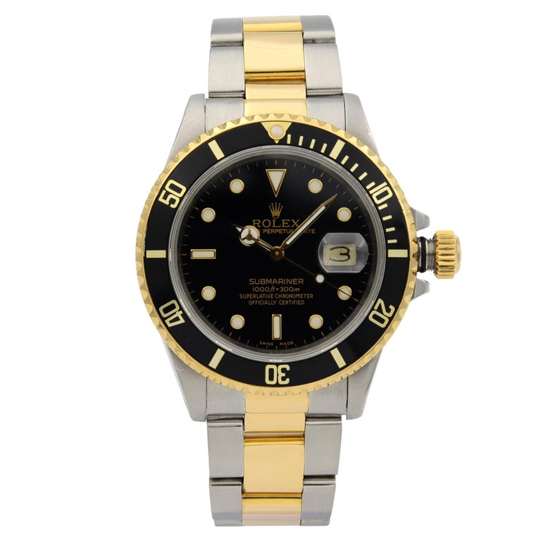 Rolex Submariner Steel 18K Yellow Gold Black Dial Automatic Men's Watch 16803 For Sale