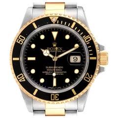 Rolex Submariner Steel 18 Karat Yellow Gold Black Dial Men's Watch 16803