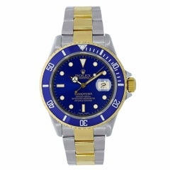 Rolex Submariner Steel and 18 Karat Yellow Gold Blue Bezel Watch 16613