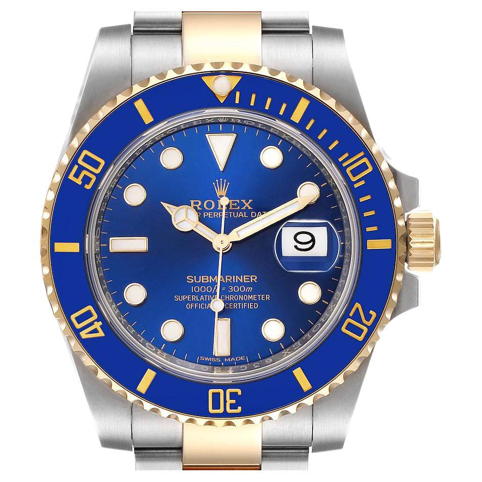 Rolex Submariner Steel 18K Yellow Gold Blue Dial Mens Watch 116613 Box Card