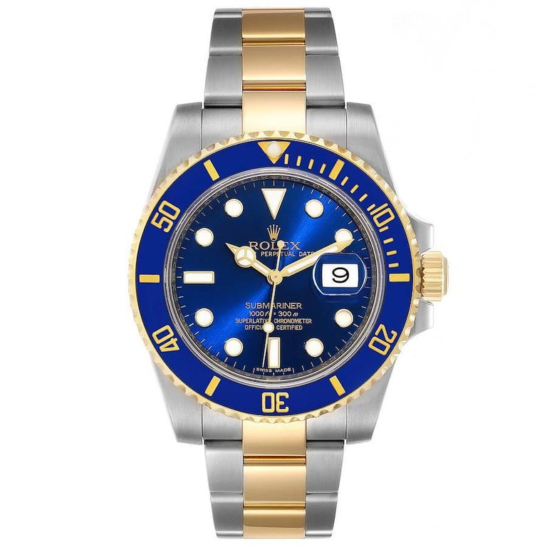 Rolex Submariner Steel 18K Yellow Gold Blue Dial Mens Watch 116613. Officially certified chronometer self-winding movement. Stainless steel and 18k yellow gold case 40.0 mm in diameter. Rolex logo on a crown. Ceramic blue Ion-plated special