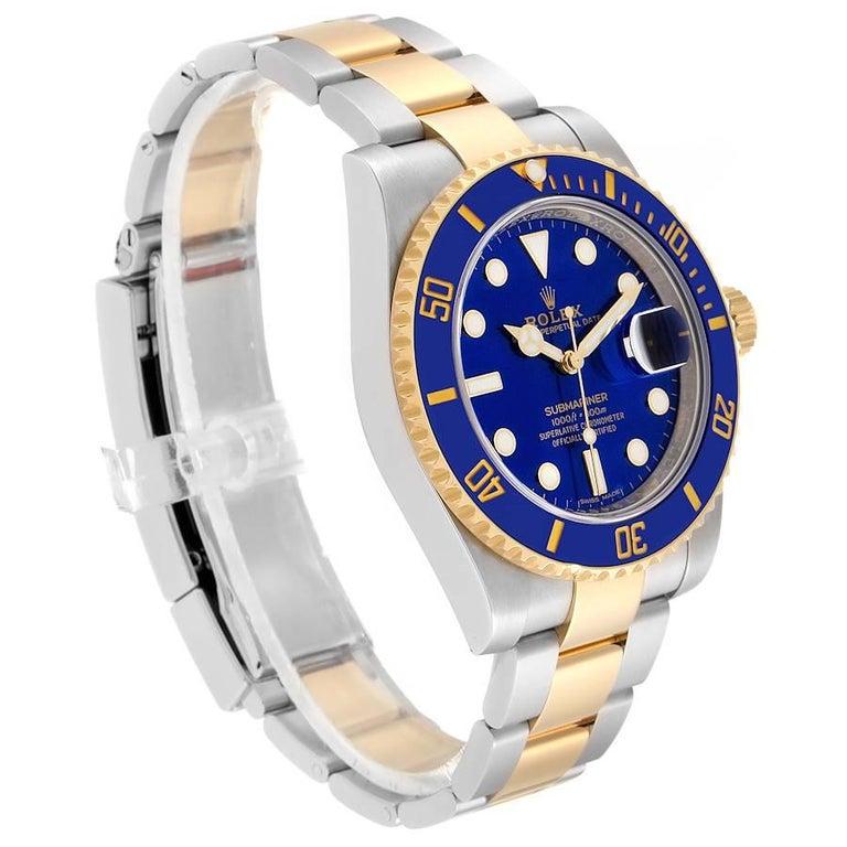 Rolex Submariner Steel 18 Karat Yellow Gold Blue Dial Men's Watch 116613 In Good Condition In Atlanta, GA