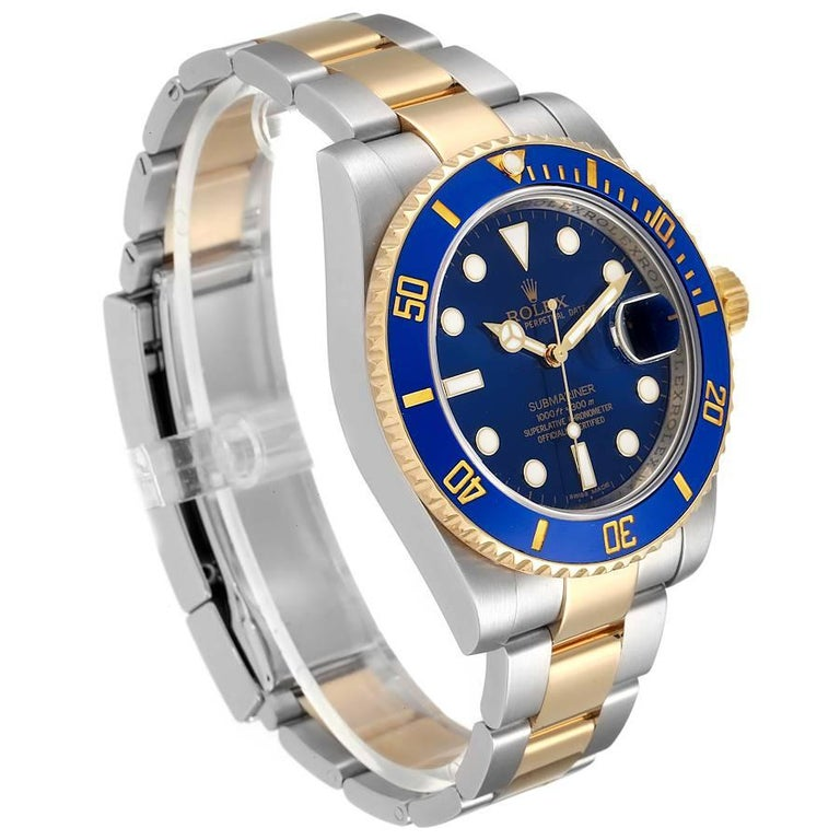 Rolex Submariner Steel 18K Yellow Gold Blue Dial Mens Watch 116613 In Excellent Condition In Atlanta, GA