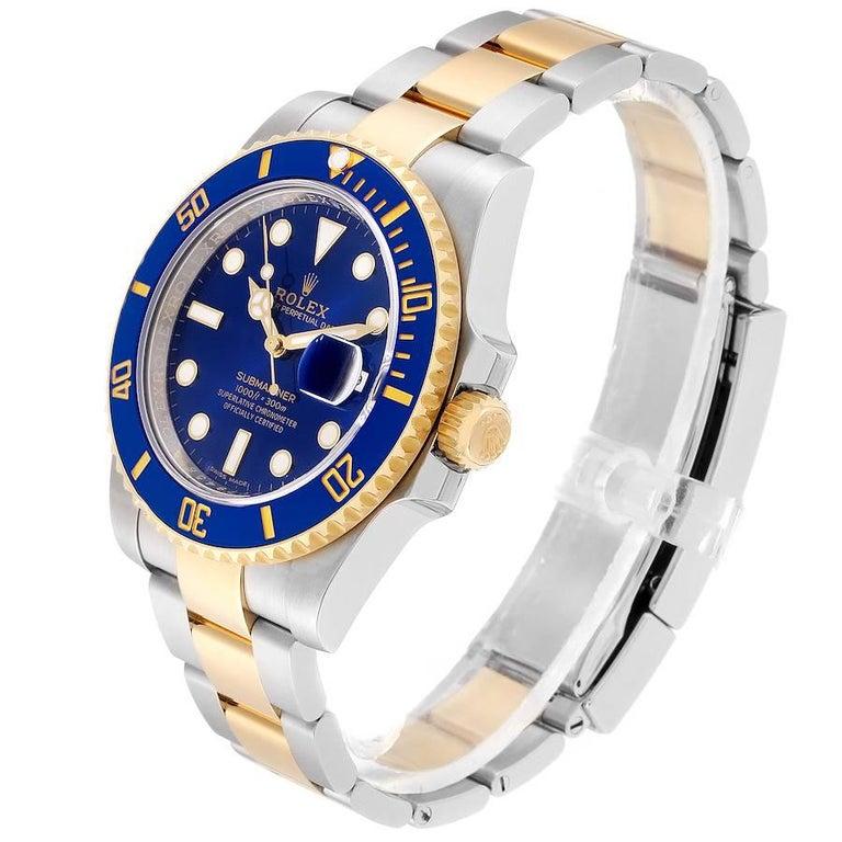 Rolex Submariner Steel 18 Karat Yellow Gold Blue Dial Men's Watch 116613 1
