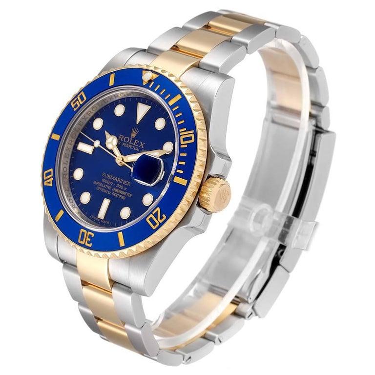 Men's Rolex Submariner Steel 18K Yellow Gold Blue Dial Mens Watch 116613
