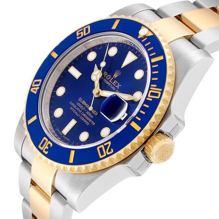 Rolex Submariner Steel 18 Karat Yellow Gold Blue Dial Men's Watch 116613 2