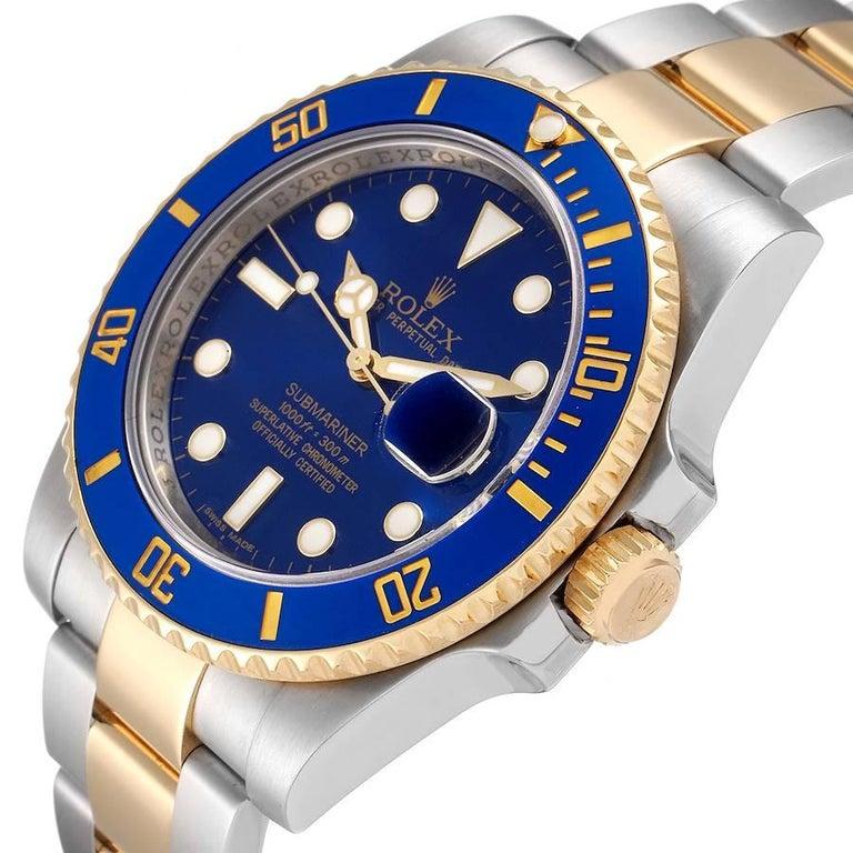 Rolex Submariner Steel 18K Yellow Gold Blue Dial Mens Watch 116613 1