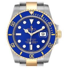 Rolex Submariner Steel 18K Yellow Gold Blue Dial Men's Watch 116613
