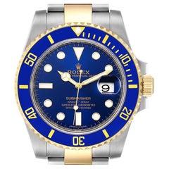 Rolex Submariner Steel 18K Yellow Gold Blue Dial Mens Watch 116613 Unworn