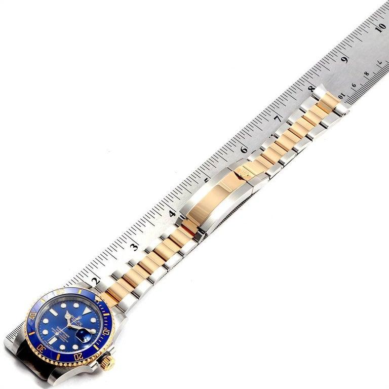 Rolex Submariner Steel 18 Karat Yellow Gold Blue Dial Watch 116613 For Sale 6