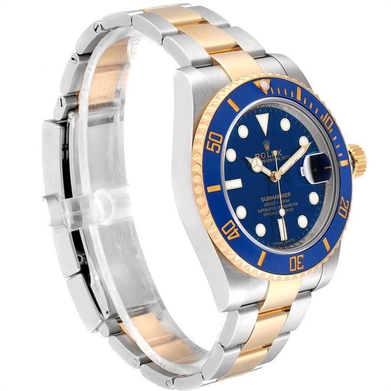 Rolex Submariner Steel 18 Karat Yellow Gold Blue Dial Watch 116613 In Excellent Condition For Sale In Atlanta, GA