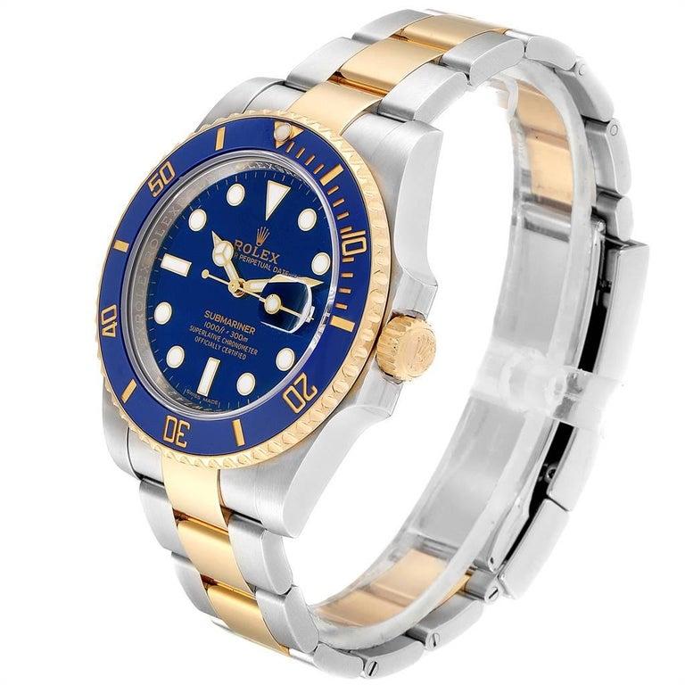 Men's Rolex Submariner Steel 18 Karat Yellow Gold Blue Dial Watch 116613 For Sale