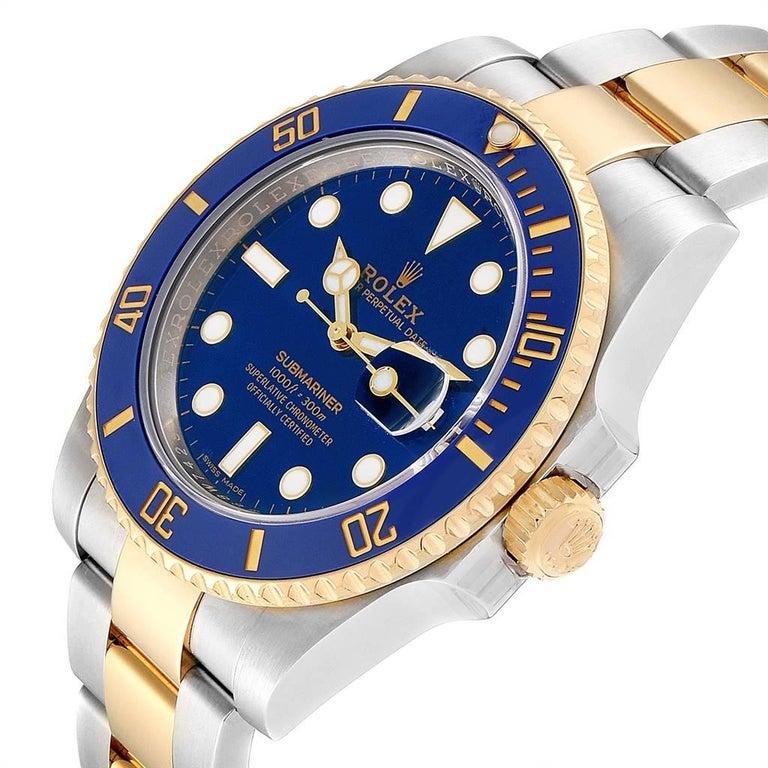 Rolex Submariner Steel 18 Karat Yellow Gold Blue Dial Watch 116613 For Sale 1