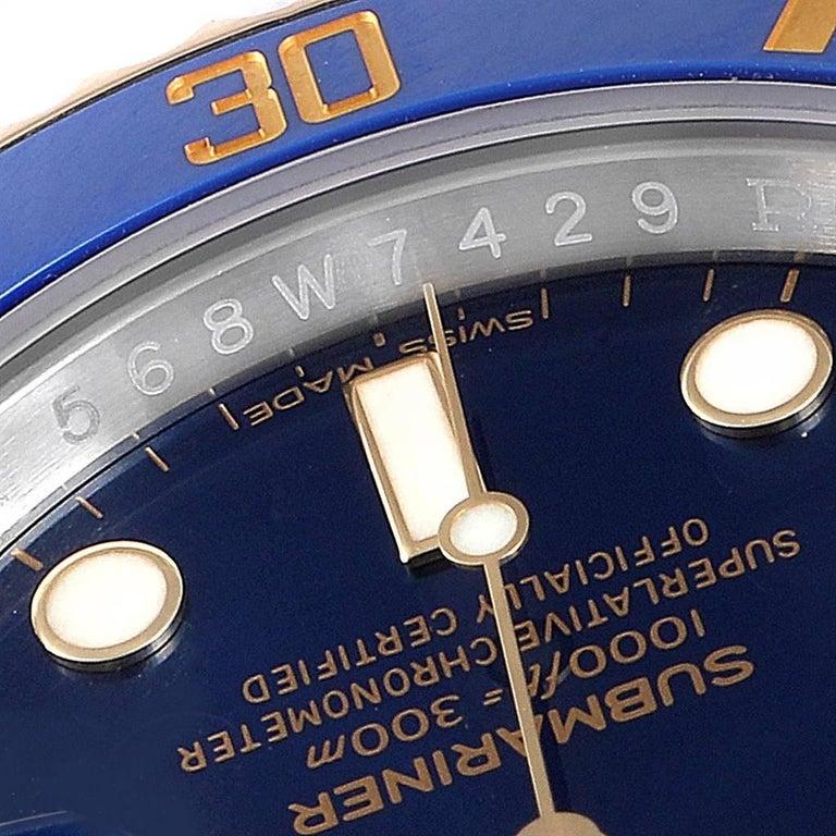 Rolex Submariner Steel 18 Karat Yellow Gold Blue Dial Watch 116613 For Sale 2