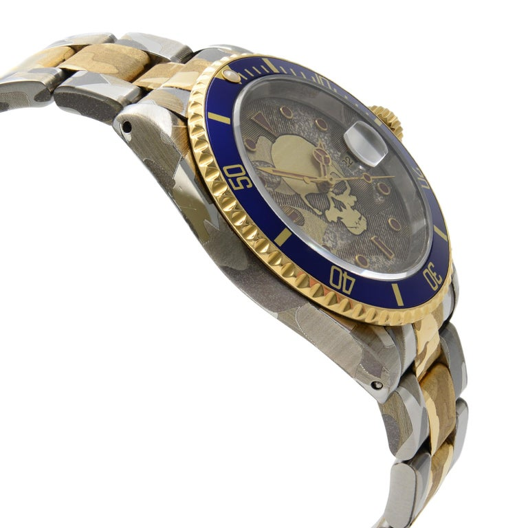 Rolex Submariner Steel 18 Karat Gold Custom Camo Automatic Men's Watch 16613 In Good Condition For Sale In New York, NY