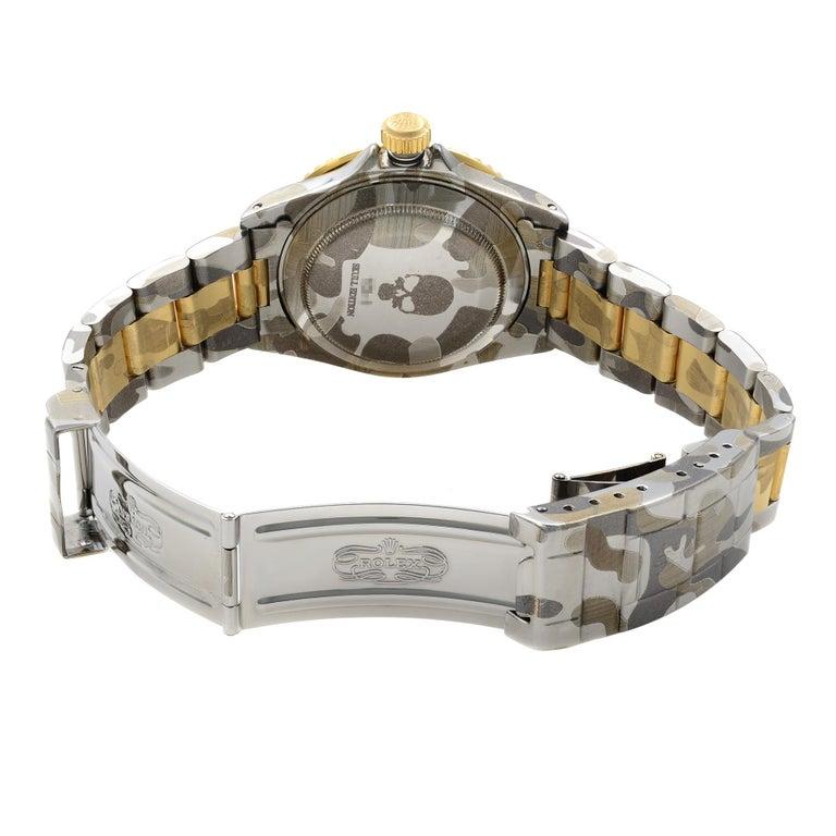 Rolex Submariner Steel 18 Karat Gold Custom Camo Automatic Men's Watch 16613 For Sale 2