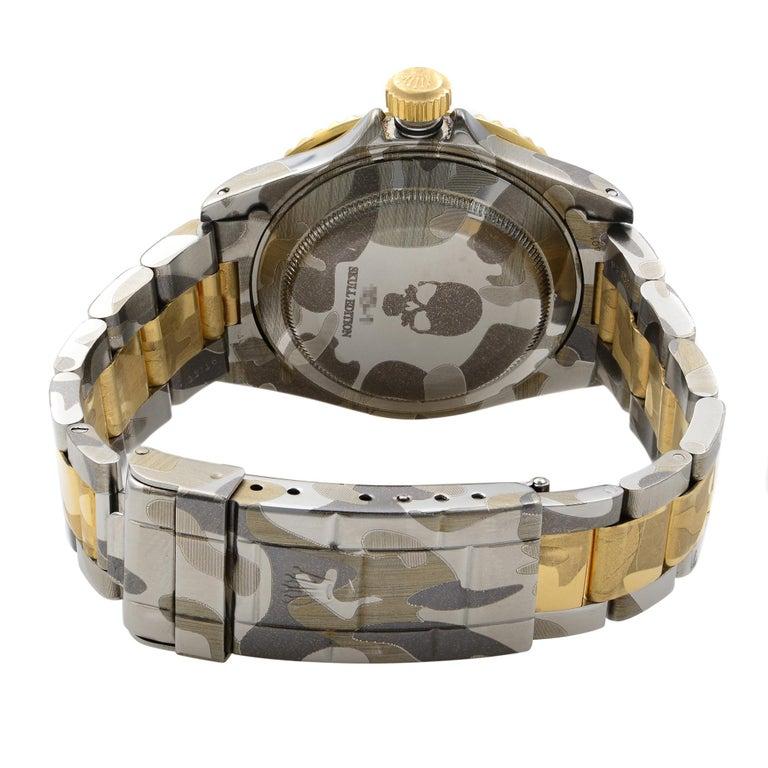 Rolex Submariner Steel 18 Karat Gold Custom Camo Automatic Men's Watch 16613 For Sale 3