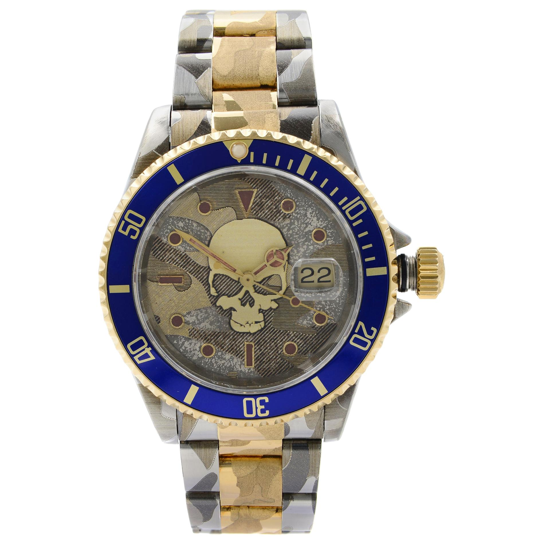 Rolex Submariner Steel 18K Yellow Gold Custom Camo Automatic Men's Watch 16613