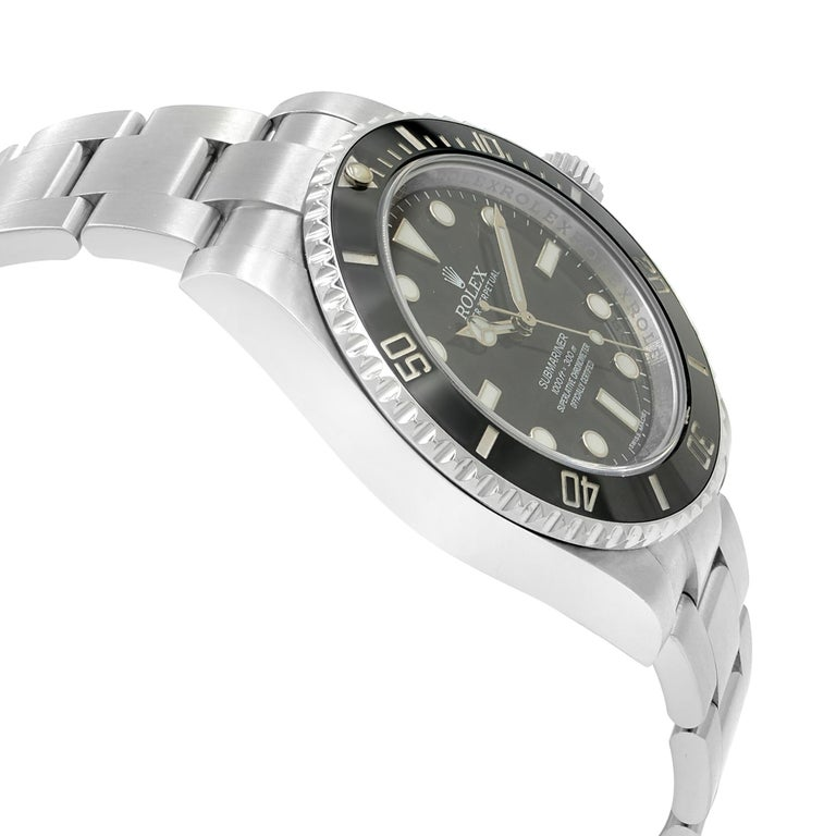 Rolex Submariner Steel Ceramic Black Dial Automatic Men's Watch 114060 In Excellent Condition For Sale In New York, NY