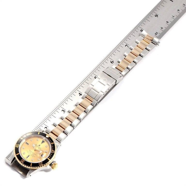 Rolex Submariner Steel Gold Diamond Sapphire Serti Dial Men's Watch 16613 7