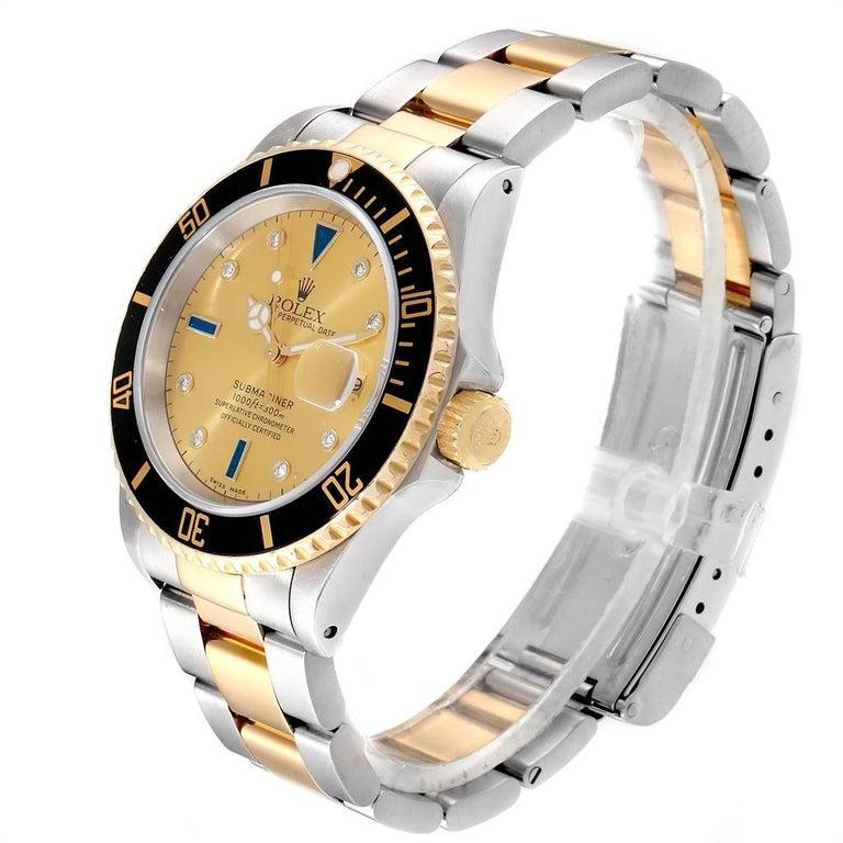 Rolex Submariner Steel Gold Diamond Sapphire Serti Dial Men's Watch 16613 In Excellent Condition In Atlanta, GA