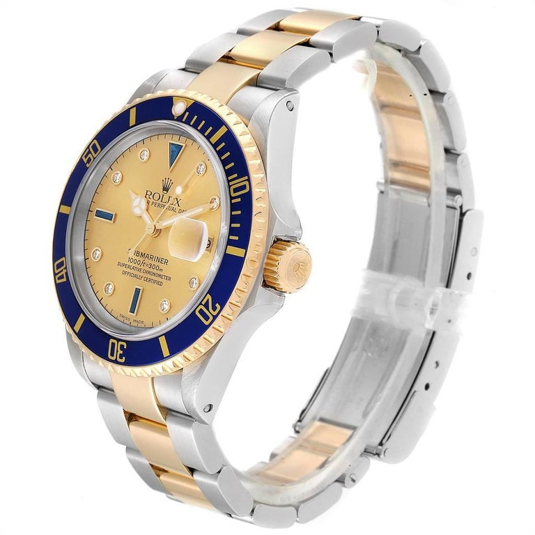 Rolex Submariner Steel Gold Diamond Sapphire Serti Dial Men's Watch 16613 1