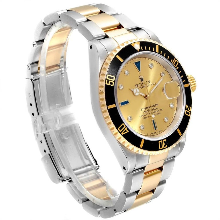 Rolex Submariner Steel Gold Diamond Sapphire Serti Dial Men's Watch 16613 1