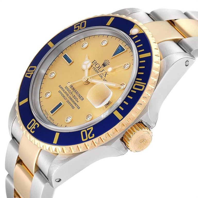 Rolex Submariner Steel Gold Diamond Sapphire Serti Dial Men's Watch 16613 2