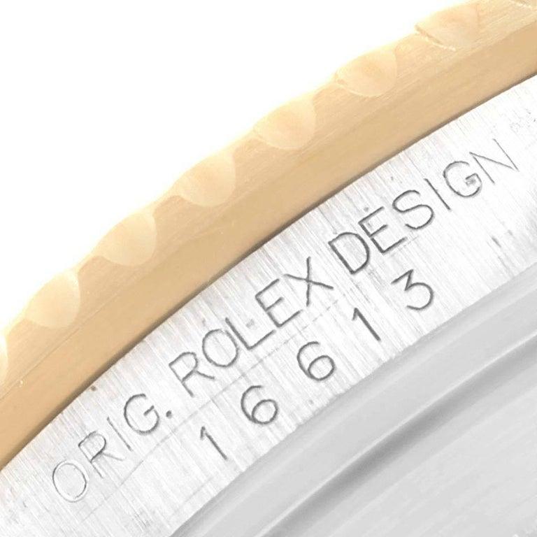 Rolex Submariner Steel Gold Diamond Sapphire Serti Dial Men's Watch 16613 5