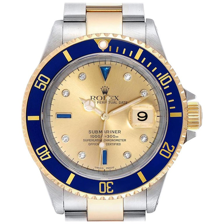 Rolex Submariner Steel Gold Diamond Sapphire Serti Dial Men's Watch 16613