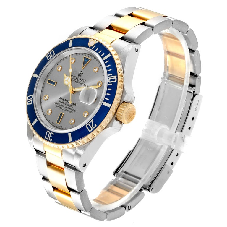 Rolex Submariner Steel Gold Slate Diamond Sapphire Serti Dial Watch 16803 In Excellent Condition For Sale In Atlanta, GA