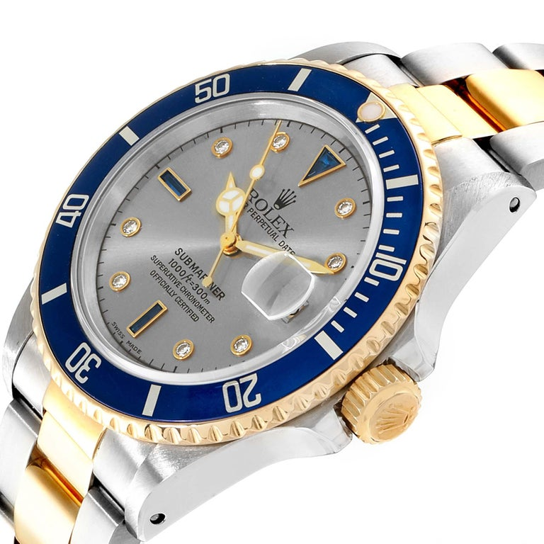 Rolex Submariner Steel Gold Slate Diamond Sapphire Serti Dial Watch 16803 For Sale 1