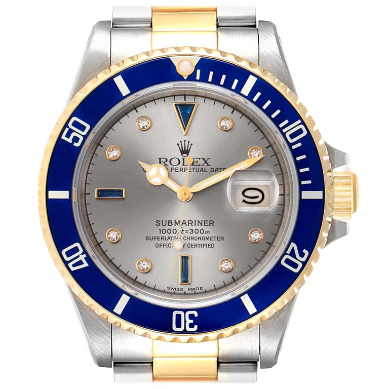 Rolex Submariner Steel Gold Slate Diamond Sapphire Serti Dial Watch 16803 For Sale