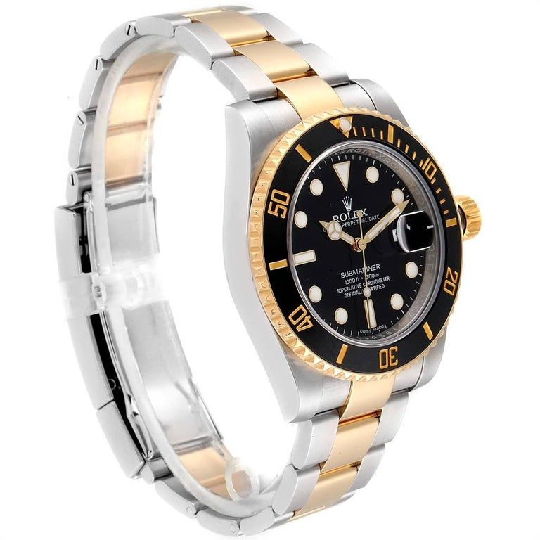 Rolex Submariner Steel Yellow Gold Black Dial Automatic Men's Watch 116613 In Excellent Condition For Sale In Atlanta, GA