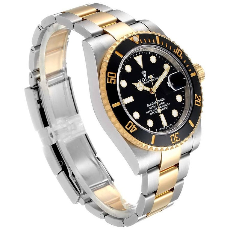 Rolex Submariner Steel Yellow Gold Black Dial Automatic Men's Watch 116613 In Excellent Condition In Atlanta, GA