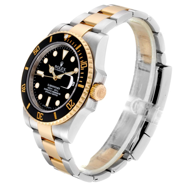 Rolex Submariner Steel Yellow Gold Black Dial Automatic Men's Watch 116613 For Sale 1
