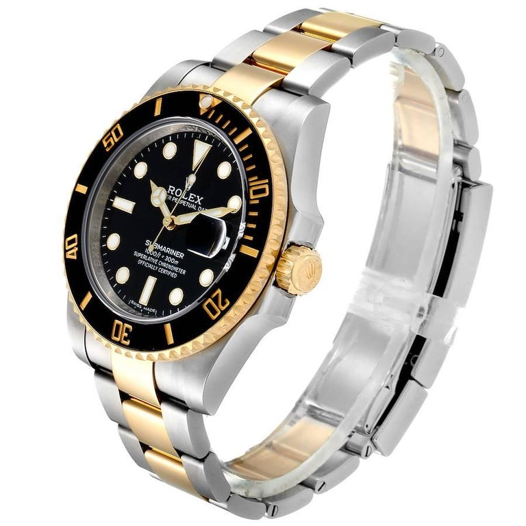Rolex Submariner Steel Yellow Gold Black Dial Automatic Men's Watch 116613 1