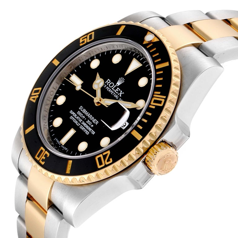 Rolex Submariner Steel Yellow Gold Black Dial Automatic Men's Watch 116613 For Sale 2