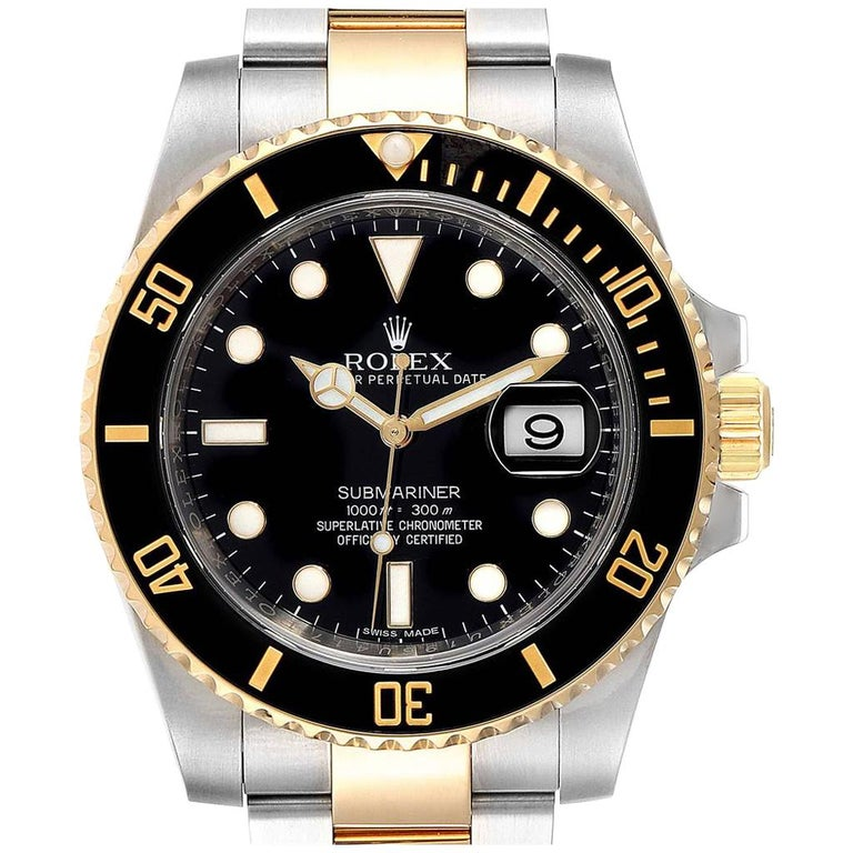 Rolex Submariner Steel Yellow Gold Black Dial Automatic Men's Watch 116613 For Sale
