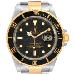 Rolex Submariner Steel Yellow Gold Black Dial Bezel Men's Watch 16613