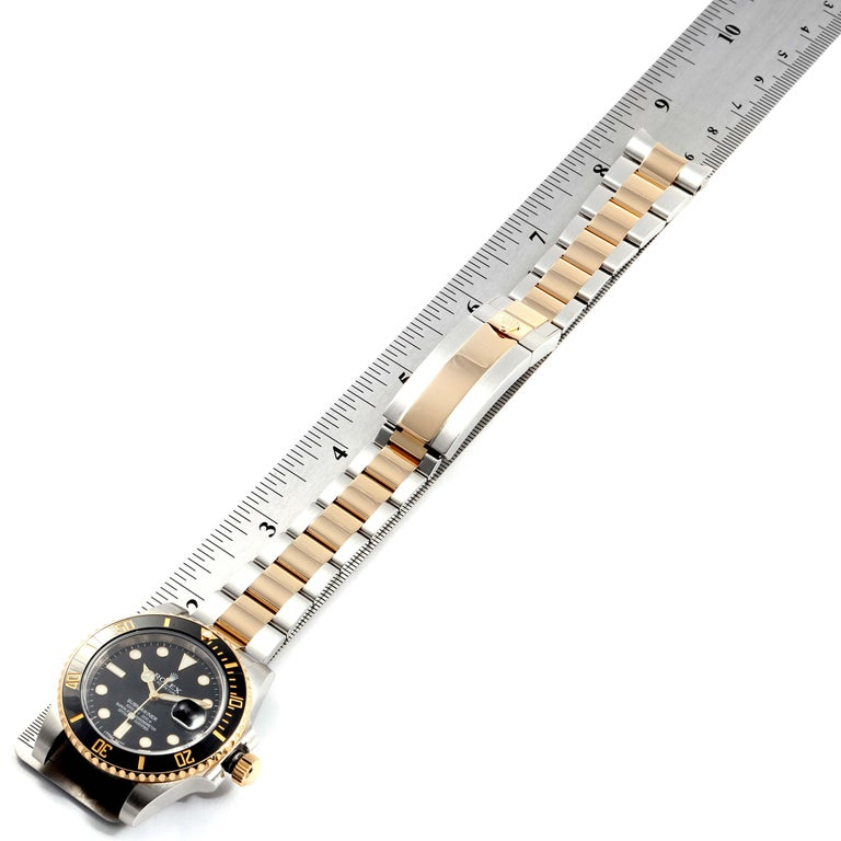 Rolex Submariner Steel Yellow Gold Black Dial Watch 116613 Box Card For Sale 6