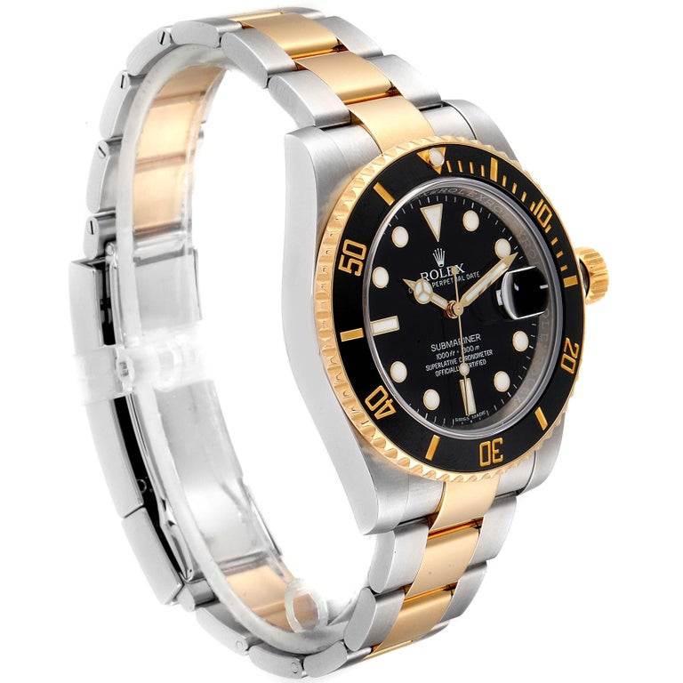 Rolex Submariner Steel Yellow Gold Black Dial Watch 116613 Box Card In Excellent Condition For Sale In Atlanta, GA