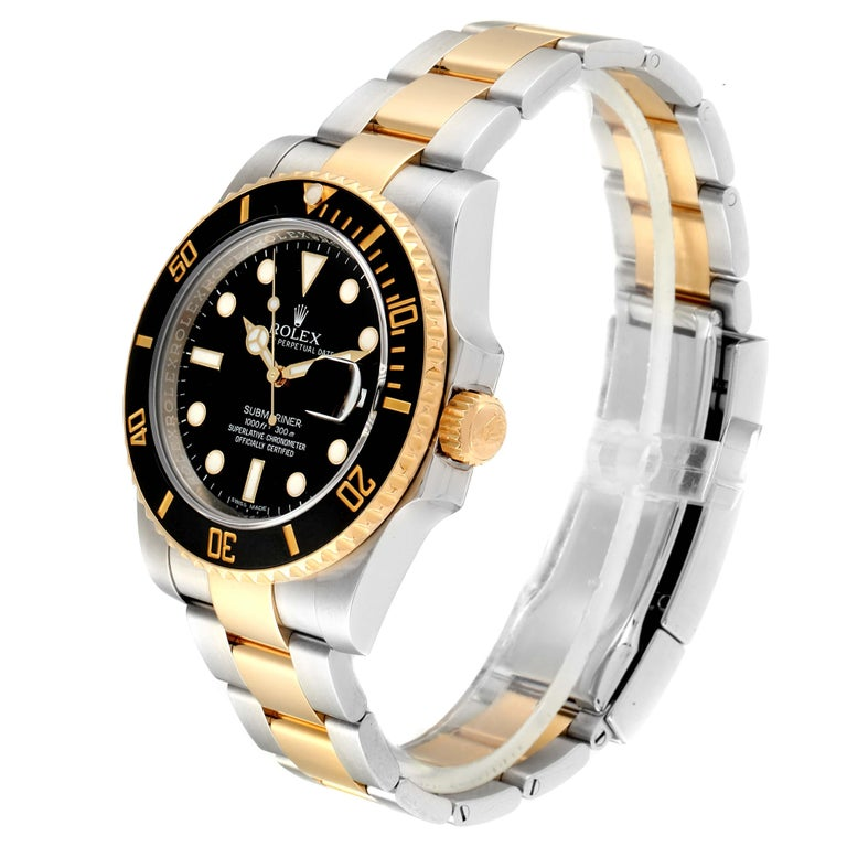 Men's Rolex Submariner Steel Yellow Gold Black Dial Watch 116613 Box Card For Sale