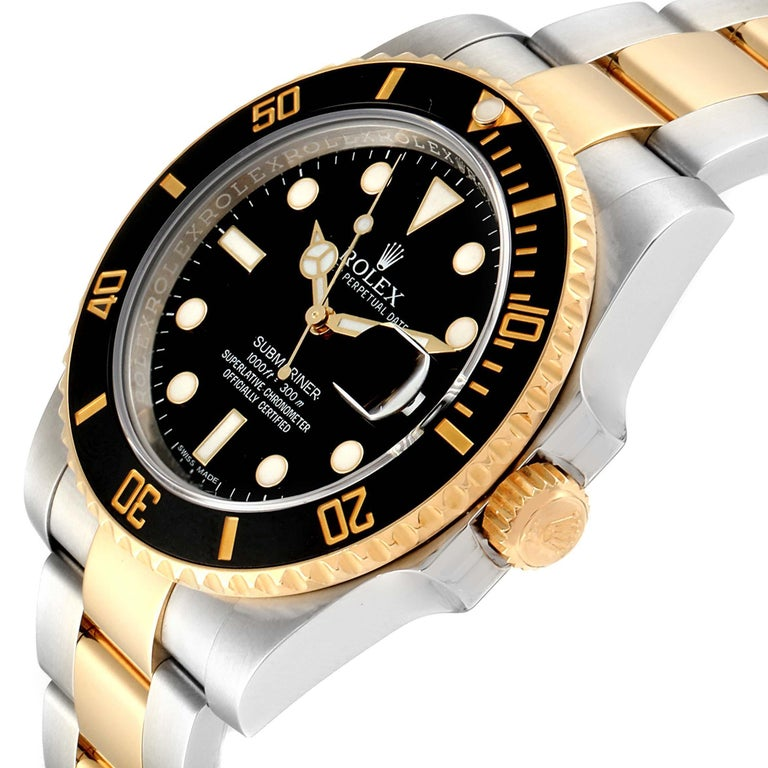 Rolex Submariner Steel Yellow Gold Black Dial Watch 116613 Box Card For Sale 1