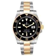 Rolex Submariner Steel Yellow Gold Black Dial Watch 116613 Box Card