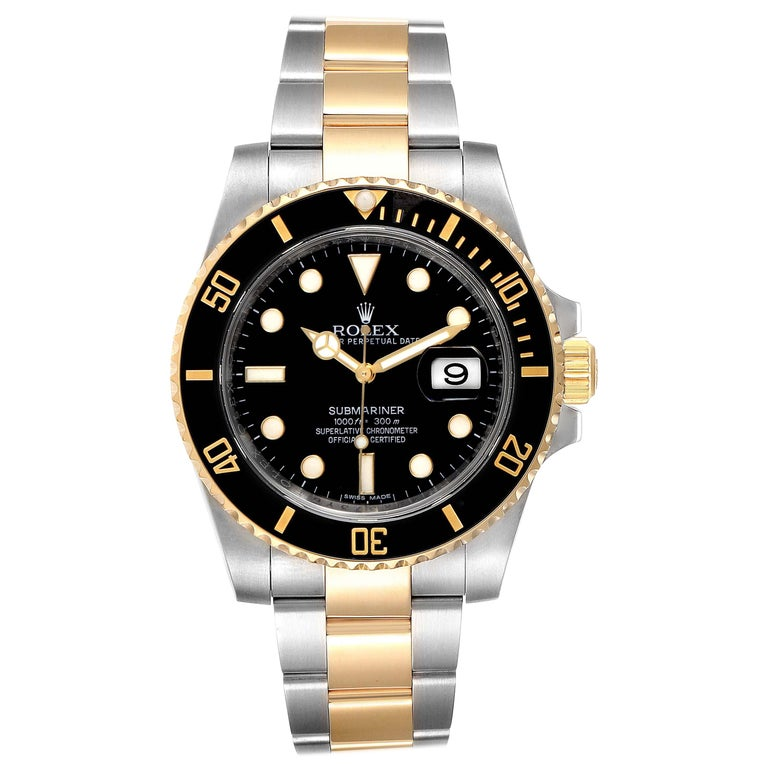 Rolex Submariner Steel Yellow Gold Black Dial Watch 116613 Box Card For Sale