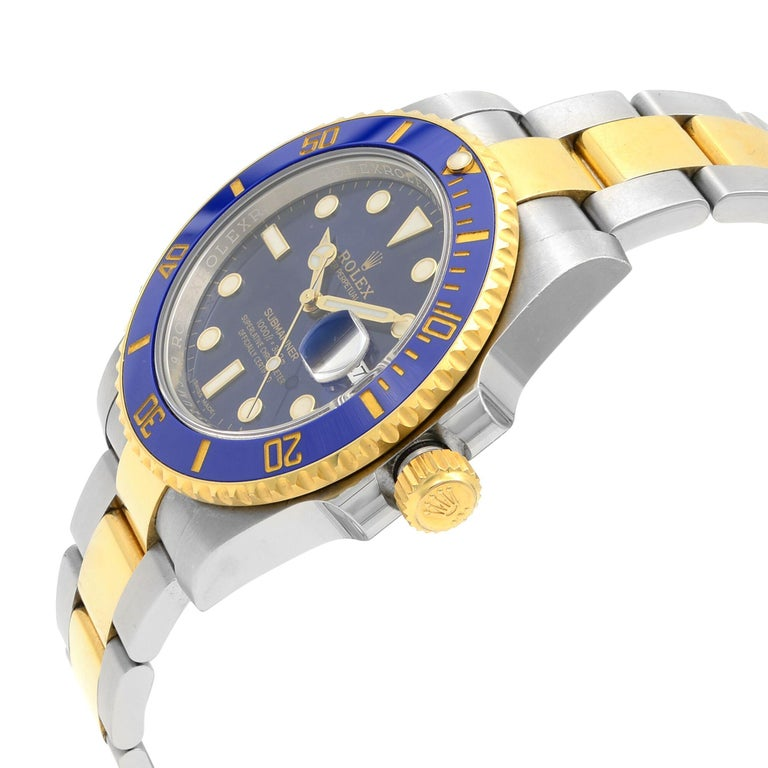 Rolex Submariner Steel Yellow Gold Ceramic Blue Dial Automatic Mens Watch 116613 In Excellent Condition For Sale In New York, NY