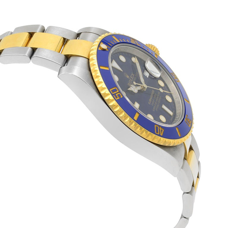 Men's Rolex Submariner Steel Yellow Gold Ceramic Blue Dial Automatic Mens Watch 116613 For Sale