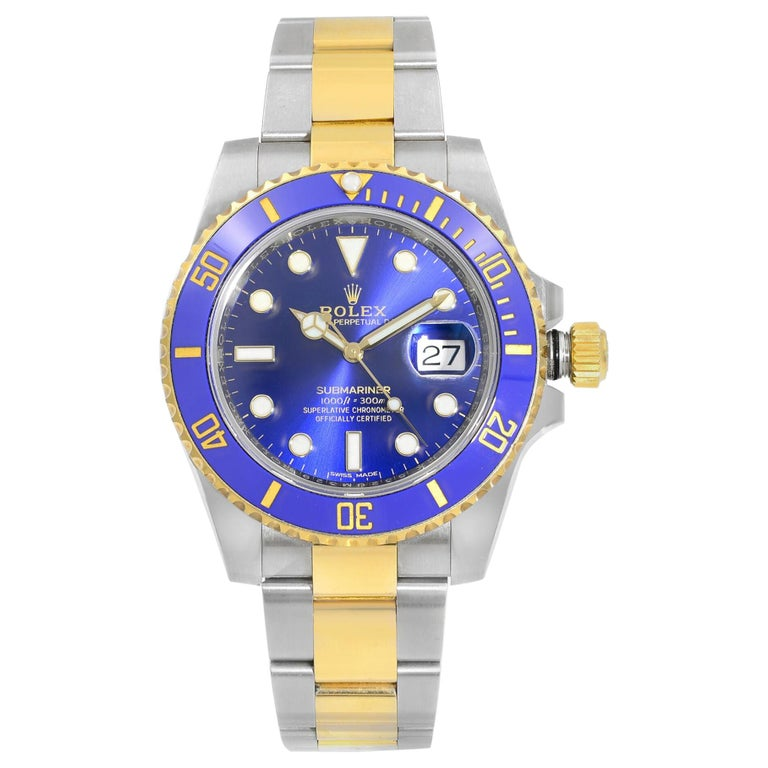 Rolex Submariner Steel Yellow Gold Ceramic Blue Dial Automatic Mens Watch 116613 For Sale