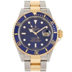 Rolex Submariner Two-Tone Bluesy Automatic Watch 16613
